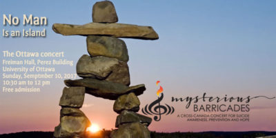 Mysterious Barricades concert in Ottawa on Sept. 10 highlights World Suicide Prevention Day