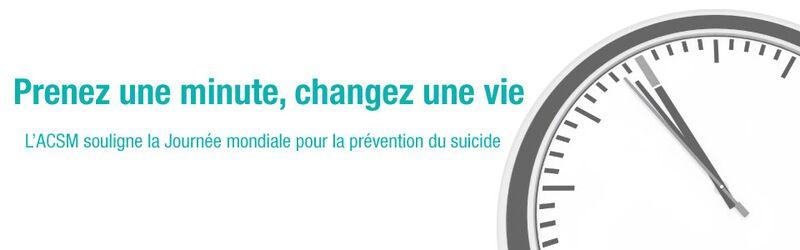 L'ACSM commémore la Journée mondiale de la prévention du suicide