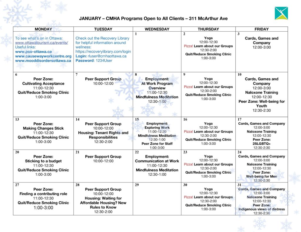 January -- CMHA Ottawa Programs Open to All Clients