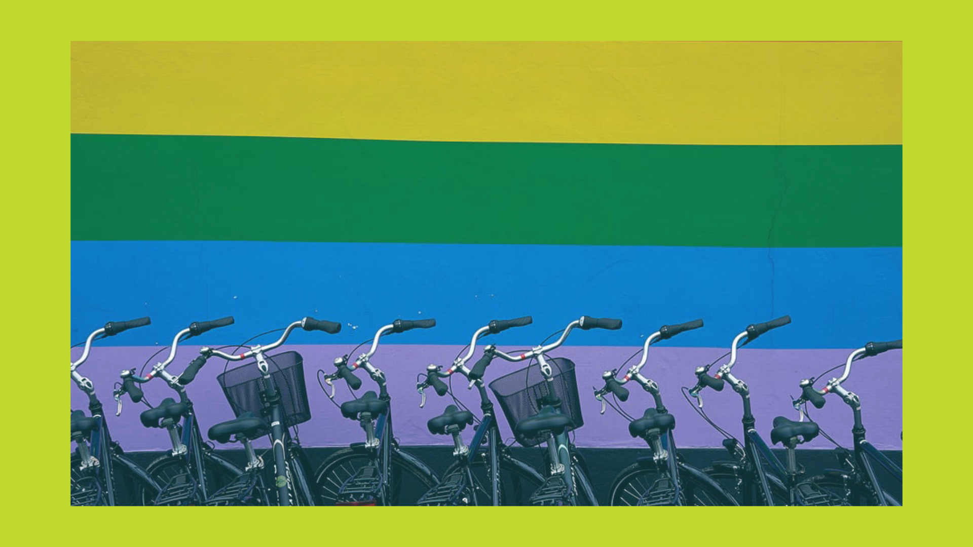 2SLGBTQI+ flag with bicycles