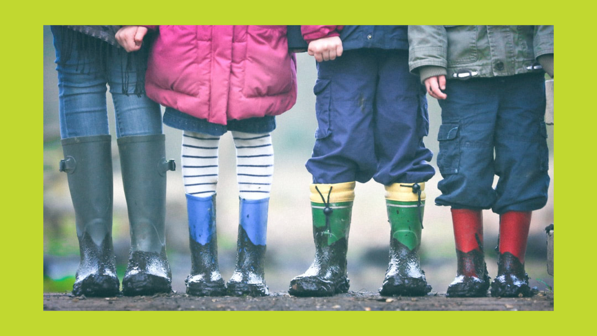 Children in muddy boots
