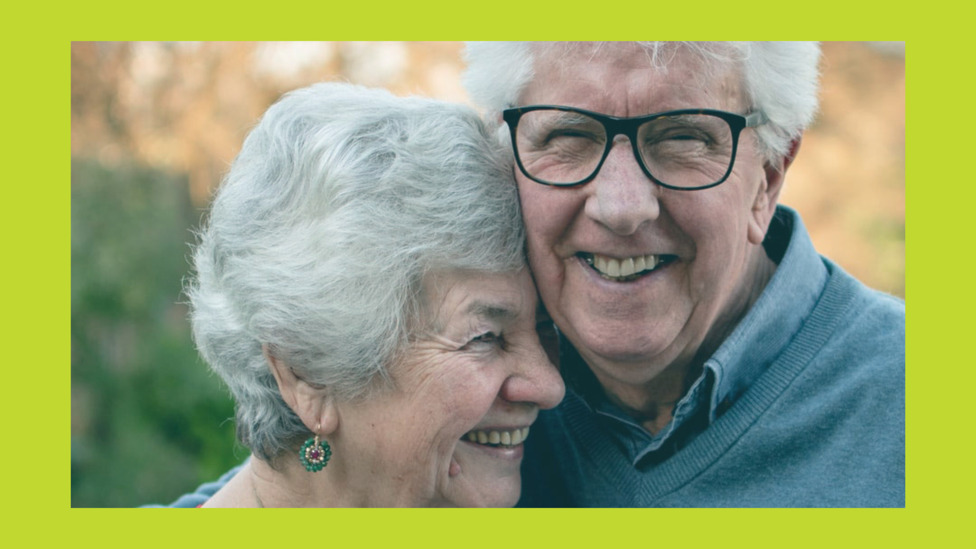 A man and a woman embrace -- seniors