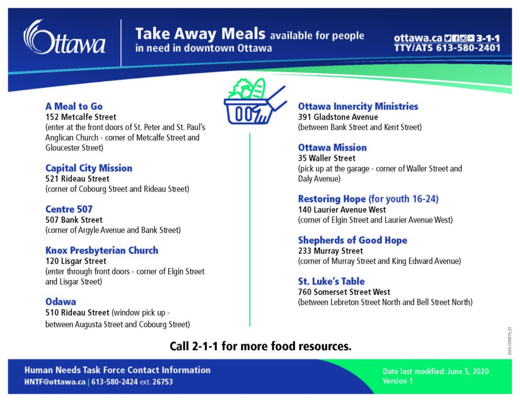 Take-away meals for people in need in downtown Ottawa