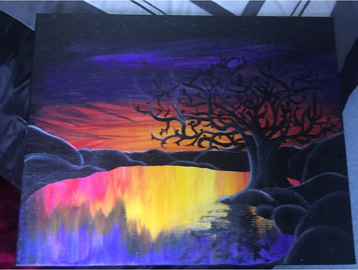 A painting of a tree against a sunset on a lake