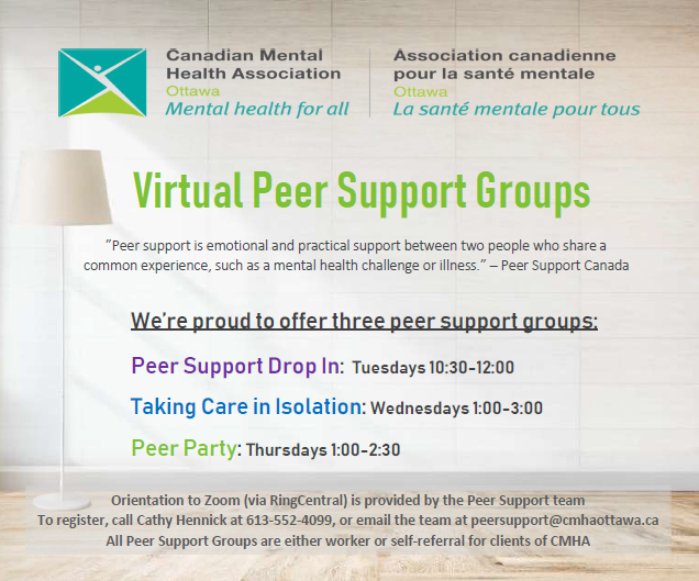 A calm room: Virtual Peer Supports | Lists three groups: Peer Support Drop-In, Taking Care in Isolation, Peer Party | Description of peer support groups below