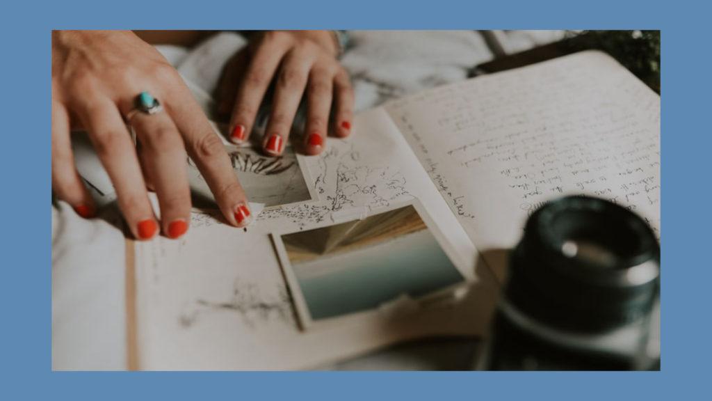 A woman's hands, journaling