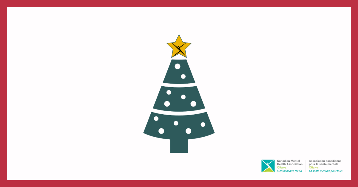 A Christmas tree with a CMHA fanciful person logo on the star