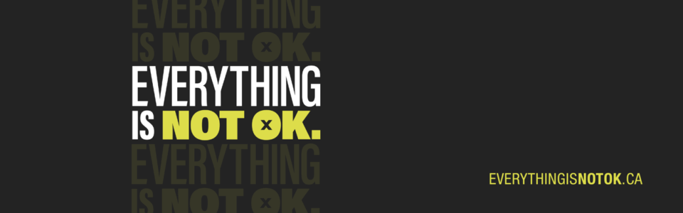Everything is not ok. White and yellow text on a stark black background.