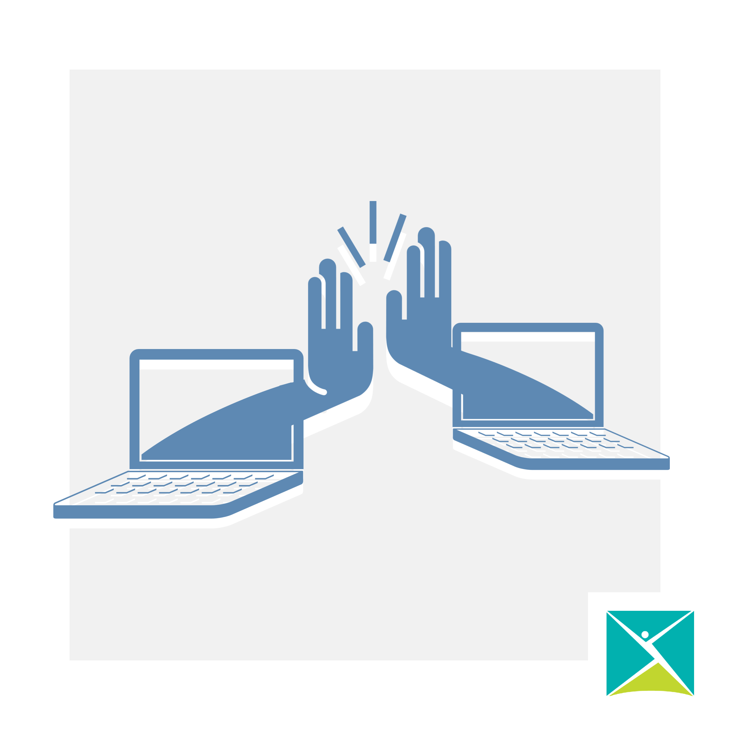 an illustration of two hands emerging from two laptops, high fiving