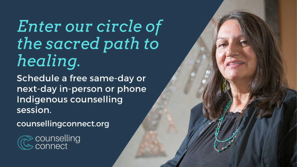 Enter our circle of the sacred path to healing -- Counselling Connect -- an Indigenous middle-aged woman smiles