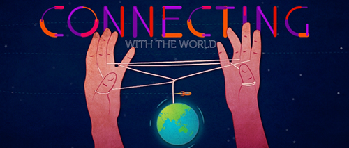 An illustration of hands holding a thread connecting the globe