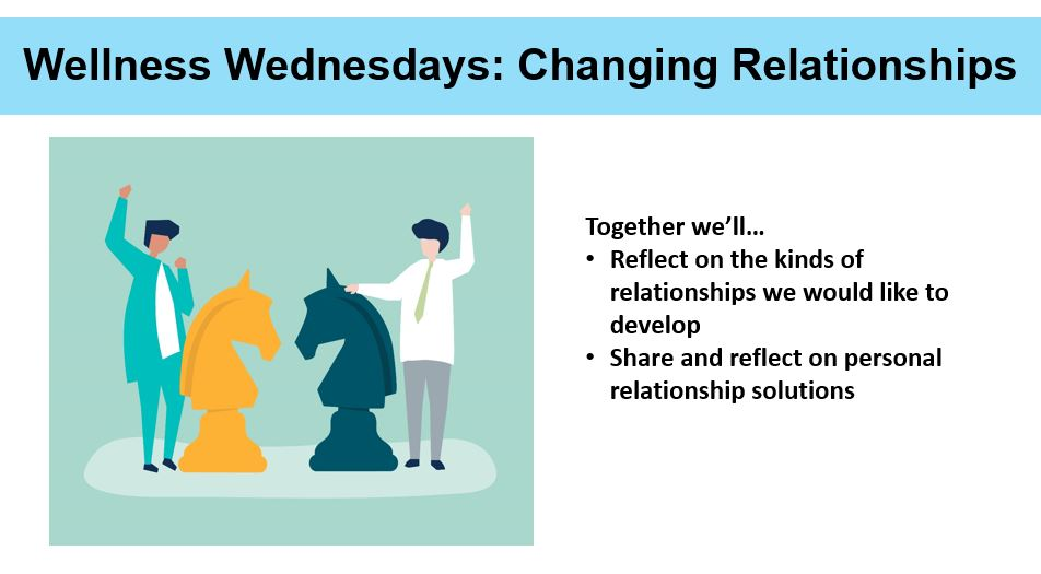 To the left of center a cartoon graphic of two people standing across from one another waving. Each person is standing behind an enlarged chess piece. To the right of center, the text reads in point form: Together we'll… Reflect on the kinds of relationships we would like to develop; Share and reflect on personal relationship solutions.