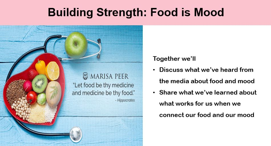 """To the left of center, an image from Marisa Peer's website, of a stethoscope formed in the shape of a hart, with a bowl of fruits, grains, and vegetables in the centre. Next to it in the graphic is a quote: """"Let Food Be Thy Medicine, and Medicine Be Thy Food."""" To the right of center is the text in point form: Together we'll: Discuss what we've heard from the media about food and mood: Share what we've learned about what works for us when we connect our food and our mood."""