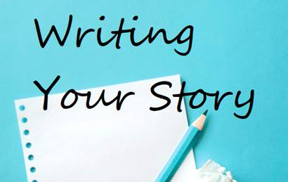 A cartoonish style image of a piece of paper left leaning, over an aqua background. A lead pencil in a teal wrapper sits on top, leaning right, with a crumpled piece of paper sitting beside it. In large casual pop handwriting is written Writing Your Story.
