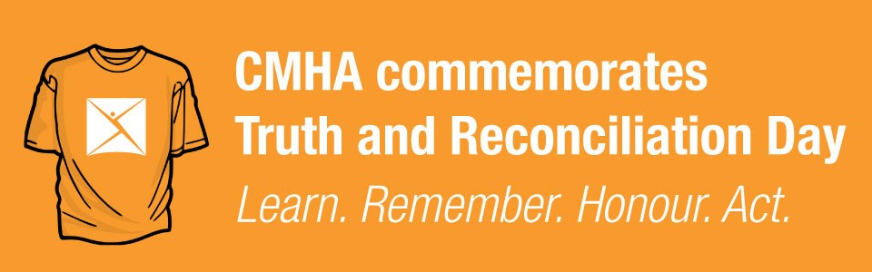 An illustration of an orange t-shirt; CMHA commemorates Truth and Reconciliation Day