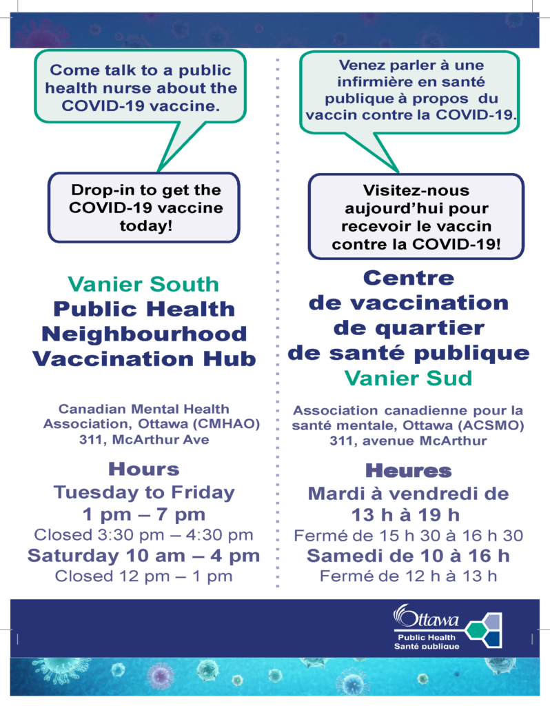 Vaccination hub poster from Ottawa Public Health